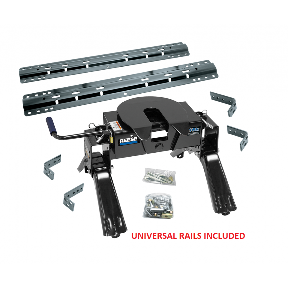 Reese 15k Fifth Wheel Trailer Hitch w/ Universal Rails- Dodge, Ford, Nissan, Toyota, RAM 30093-30035