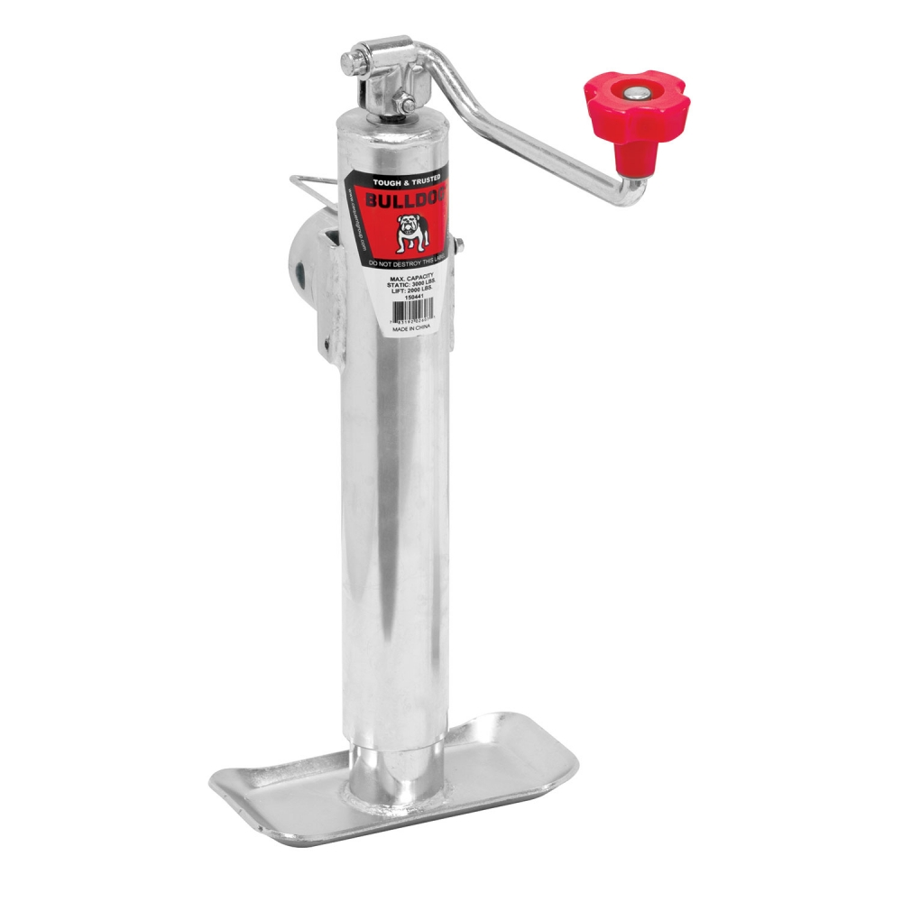 "Bulldog 2,000 lbs. Round Pipe Mount Swivel Trailer Jack Topwind 10"" Lift w/ Pull Pin Zinc"